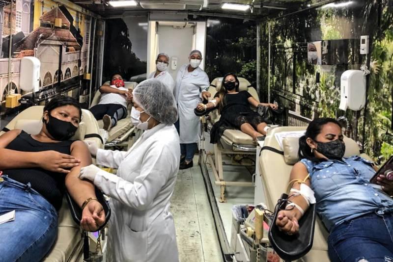 Unidade móvel do Hemopa dispõe da infraestrutura necessária para que os voluntários possam doar sangue com segurança e conforto