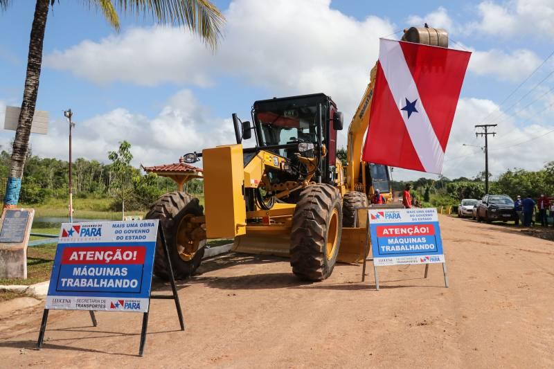 As máquinas já estão na rodovia para o início dos trabalhos de pavimentação
