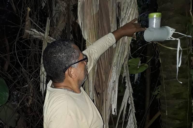 Técnico instala armadilha para a captura do inseto conhecido como barbeiro, causador da doença de Chagas
