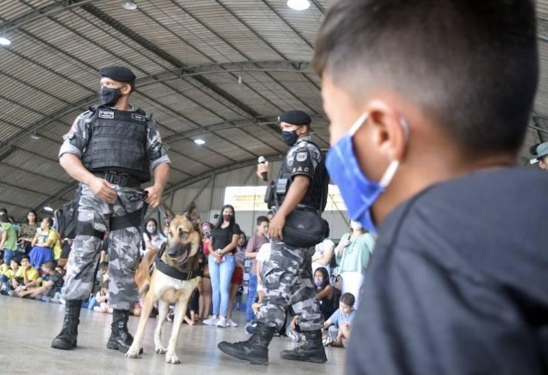 Demonstração das atividades desenvolvidas pelos cães da Polícia Militar