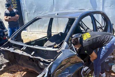 Policial inspeciona uma das carcaças de carro encontradas